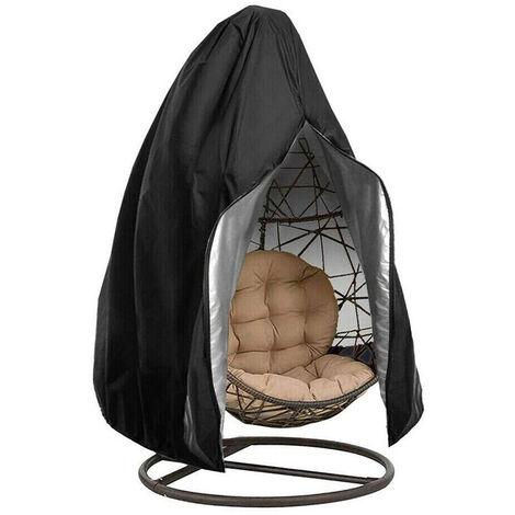 Silla colgante huevo impermeable terraza cubierta de la silla a prueba de polvo impermeable al aire libre para jardin Silla del patio, Negro