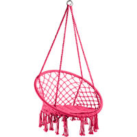 Silla colgante Jane - columpio de cesta con cojín, asiento colgante con estructura de acero, silla colgante para jardín con trenzado de algodón