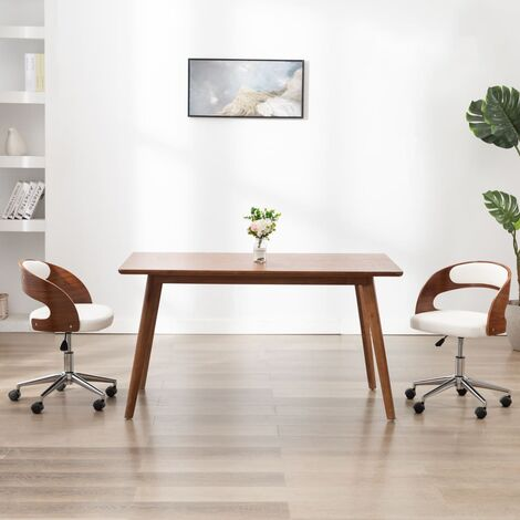 Silla comedor giratoria madera curvada cuero sintético blanco