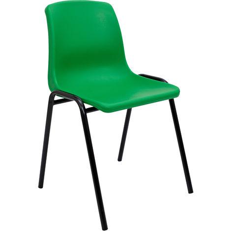Silla confidente ergonómica, apilable y con estructura negra Asiento y respaldo de PVC de color verde PIQUERAS Y CRESPO Modelo Alborea