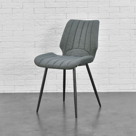 Silla de comedor Pohorje - 77 x 57,5 x 46 cm - Set de 4 sillas de diseño - Acolchado - De Tela - Gris oscuro