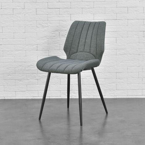 Silla de comedor Pohorje - 77 x 57,5 x 46 cm - Set de 6 sillas de diseño - Acolchado - De Tela - Gris oscuro