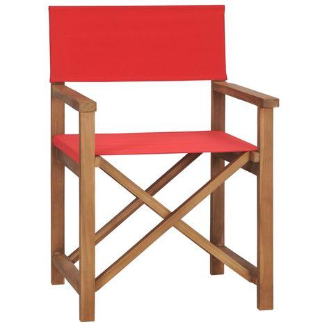 Silla de director de madera maciza de teca roja