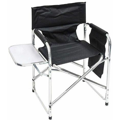 Silla de director silla de jardín silla plegable jardín mesa plegable negra, bolsillo lateral de aluminio para camping, An x Al x P 65x65x55 cm