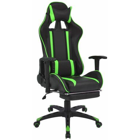 Silla de escritorio Racing reclinable con reposapiés verde