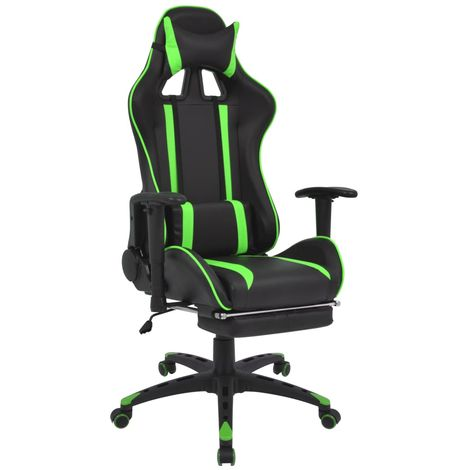 Silla de escritorio Racing reclinable con reposapies verde
