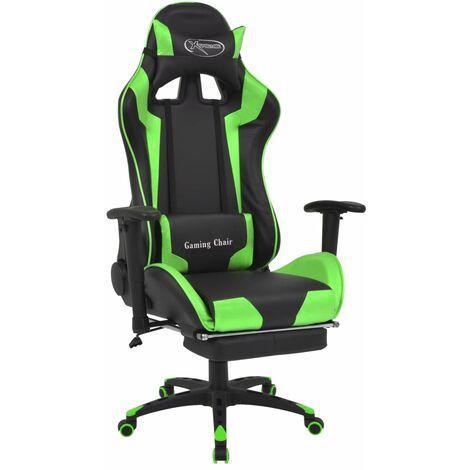 Silla de escritorio reclinable Racing con reposapiés verde