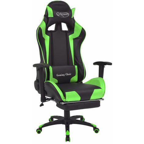 Silla de escritorio reclinable Racing con reposapies verde