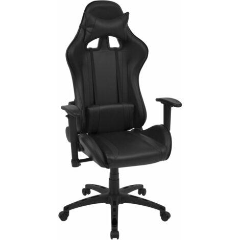 Silla de escritorio reclinable Racing de cuero artificial negra