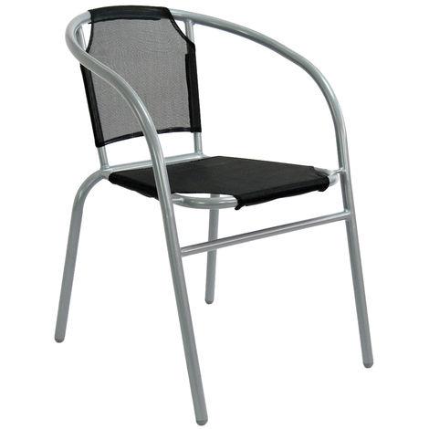 Silla de jardín apilable hierro negro clásico de 52x54x72 cm