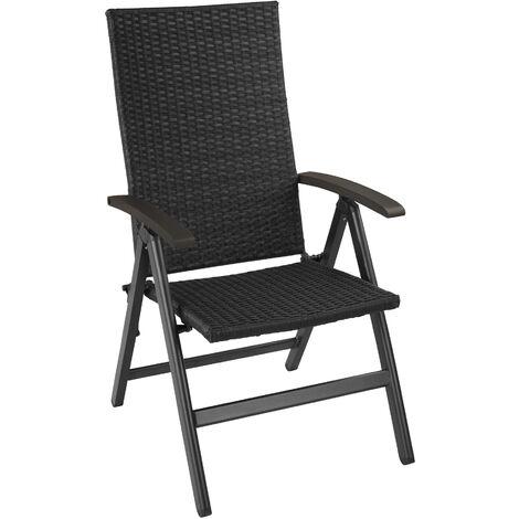 Silla de jardín de ratán plegable Melbourne - sillón de poliratán compacto, mueble de ratán sintético impermeable, asientos de jardín con estructura de aluminio
