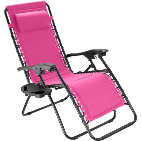 Silla de jardín Giuseppe - mueble de terraza plegable, silla con estructura de acero y lona de poliéster, asiento ajustable con reposacabezas