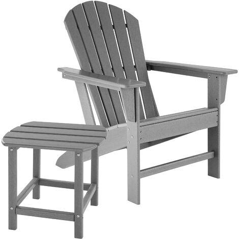 Silla de jardín Janis con mesa Kamala - Juego de sillas de jardín Adirondack, Set de asientos de balcón, Conjunto de sillones para patio con mesa - marrón