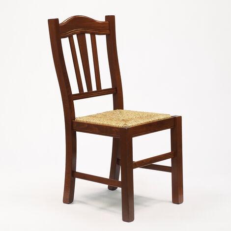 Silla de madera con asiento de paja para cocina y comedor SILVANA ...