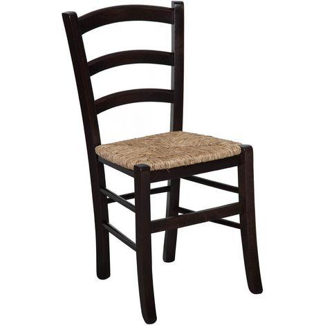 Silla de madera maciza de haya con acabado wengé y asiento de paja L45xPR45xH88 cm. Hecho en italia