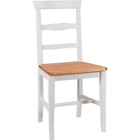 Silla de madera para mesa de comedor restaurante pizzería cocina casas de campo arte povera Blanco Natural 45xPR43xH92 Cm Made i