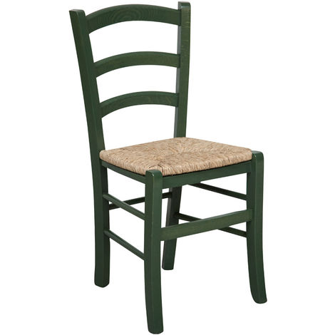 Silla de madera para mesa de comedor restaurante pizzería cocina granjas pobre arte Verde L45xPR45xH88 Cm Made in Italy