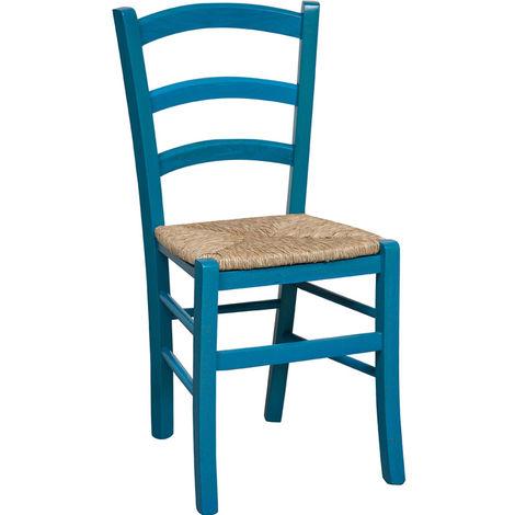 Silla de madera para mesa de comedor restaurante pizzería cocina rústico pobre arte Azul L45xPR45xH88 Cm Hecho en Italia