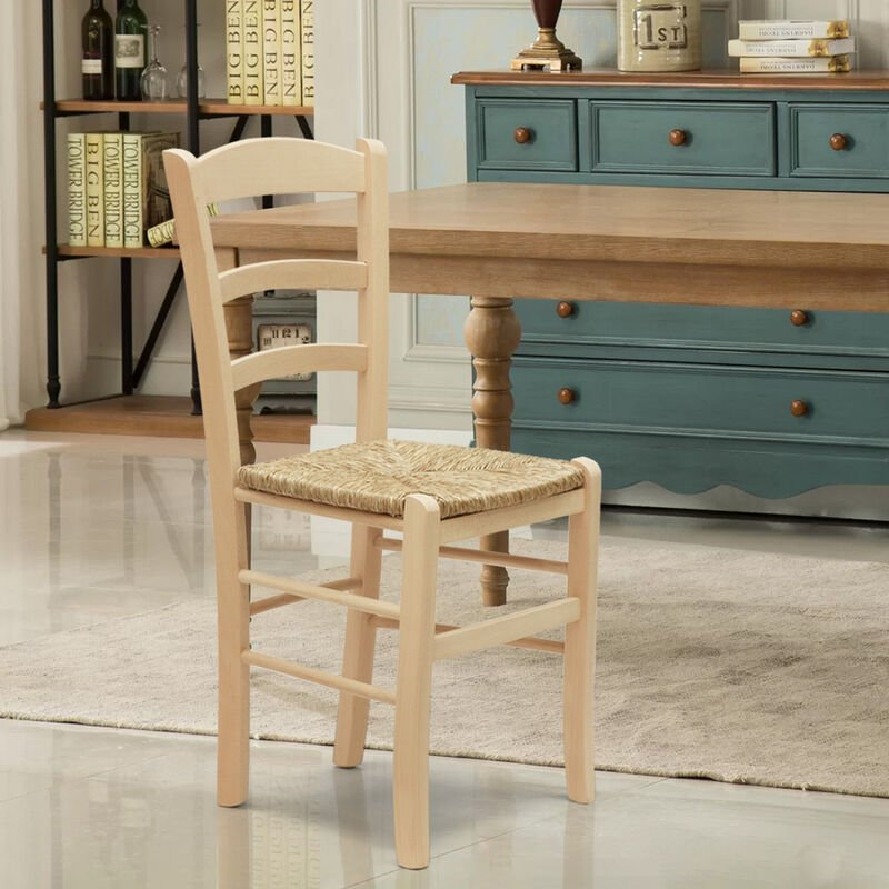 Silla de madera y asiento de paja para cocina bar y posada PAESANA