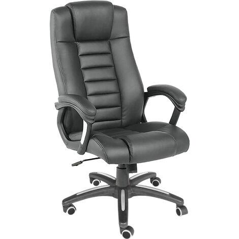 Silla de oficina de piel sintética negra acabado lujoso - silla de escritorio diseño moderno, silla de dirección acolchada de polipiel, silla de poli piel con acolchado extra grueso - negro