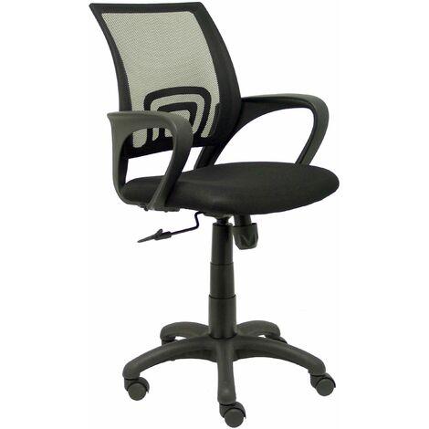 Silla de oficina ergonómica con mecanismo basculante y regulable en altura Respaldo de malla en color negro y asiento tapizado en tejido ARAN color negro PIQUERAS Y CRESPO Modelo 312