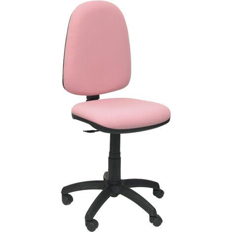 Silla de oficina ergonómica con mecanismo de contacto permanente y regulable en altura Asiento y respaldo tapizados en tejido BALI color rosa claro PIQUERAS Y CRESPO Modelo 04CP