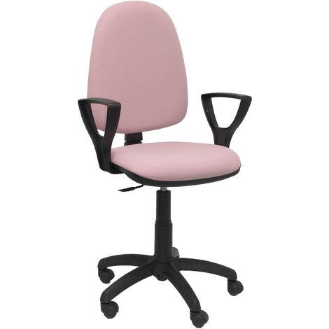 Silla de oficina ergonómica con mecanismo de contacto permanente y regulable en altura Asiento y respaldo tapizados en tejido BALI color rosa pálido (BRAZOS FIJOS INCLUIDOS) PIQUERAS Y CRESPO Modelo 04CP