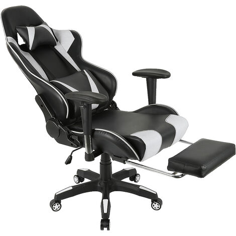 Silla de oficina ergonómica reclinable a 180 ° en blanco y negro