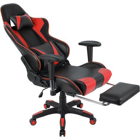 Silla de oficina GAMING sillón ergonómico con cojines, asiento estilo silla de jugador racing racer, revestimiento sintético negro / rojo