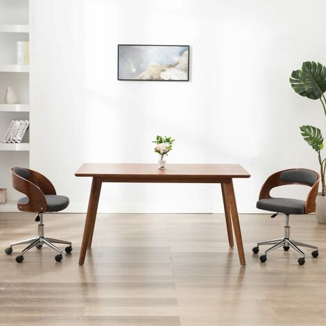 Silla de oficina giratoria de madera curvada y tela gris
