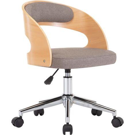 Silla de oficina giratoria de madera curvada y tela gris taupe