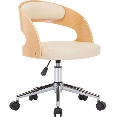 Silla de oficina giratoria madera curvada cuero sintético crema