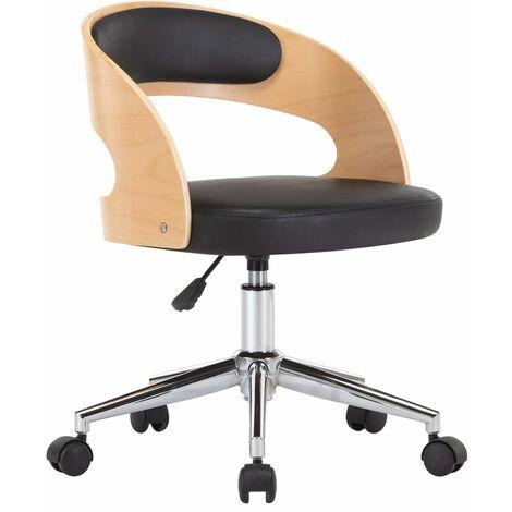 Silla de oficina giratoria madera curvada cuero sintético negro