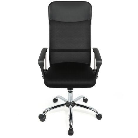 Silla de oficina | Sillas ergonómicas de oficina | Silla para computadora con reposabrazos, respaldo de malla ajustable en altura (122 ~ 130 cm) negro