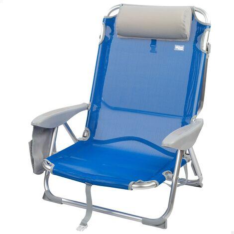 Silla de playa 4 posiciones con cojín y posavasos Beach 67x67x76 cm (Aktive 62609)