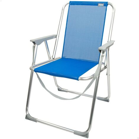 Silla de playa azul plegable Beach 53x60.5x76 cm (Aktive 62606)