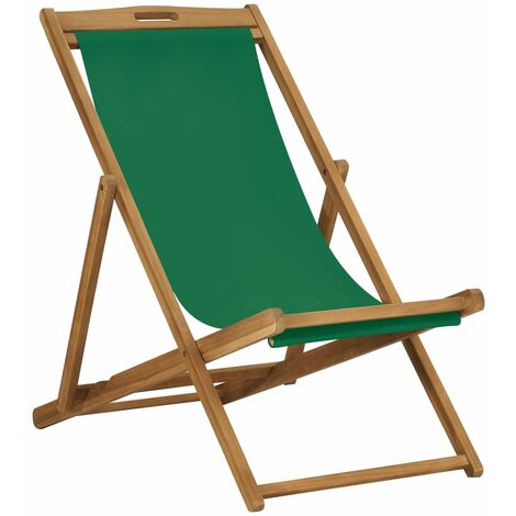 Silla de playa plegable de madera maciza de teca verde