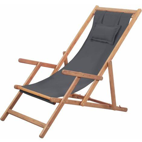 Silla de playa plegable de tela y estructura de madera gris