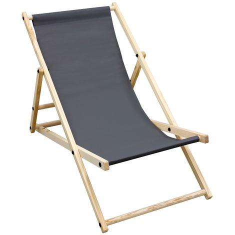 Silla de playa plegable madera tumbona antracita para jardín hamaca impermeable