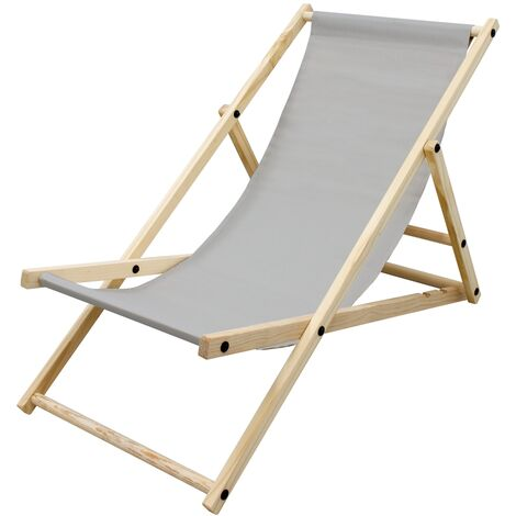 Silla de playa plegable madera tumbona gris claro jardín hamaca impermeable