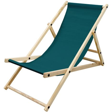 Silla de playa plegable madera tumbona verde oscuro jardín hamaca impermeable
