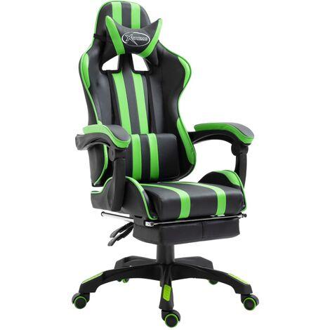 Silla gaming con reposapiés cuero sintético verde