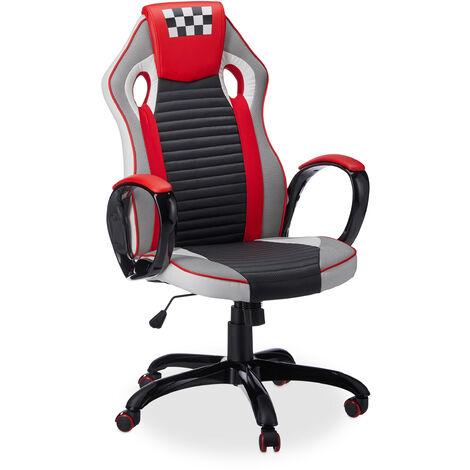 Silla Gaming Speed Racing, Piel Sintética, Negro-Rojo-Blanco, 123 x 67 x 67 cm
