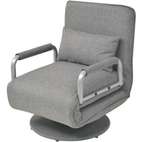 Silla giratoria y sofá cama tela gris claro - Gris