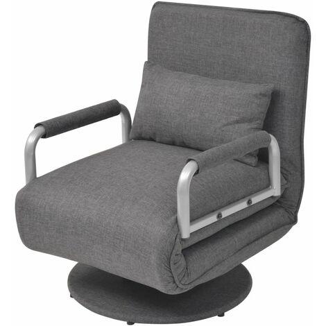 Silla giratoria y sofa cama tela gris oscuro