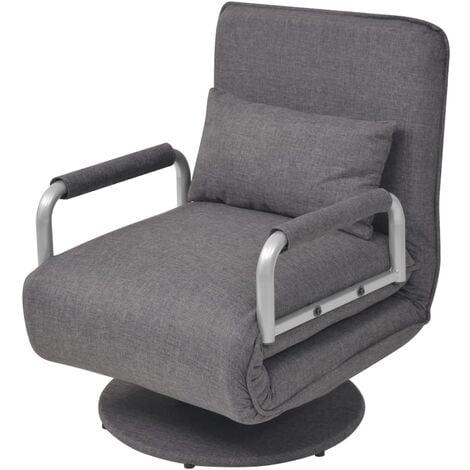 Silla giratoria y sofá cama tela gris oscuro - Gris