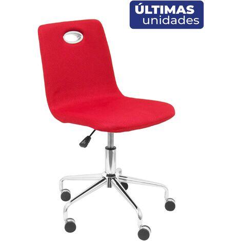 Silla infantil de oficina ergonómica con mecanismo giratorio y regulable en altura Respaldo y asiento tapizado en tejido de malla color rojo PIQUERAS Y CRESPO Modelo Olivares