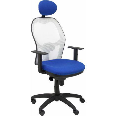 Silla Jorquera malla blanca asiento bali azul con cabecero fijo