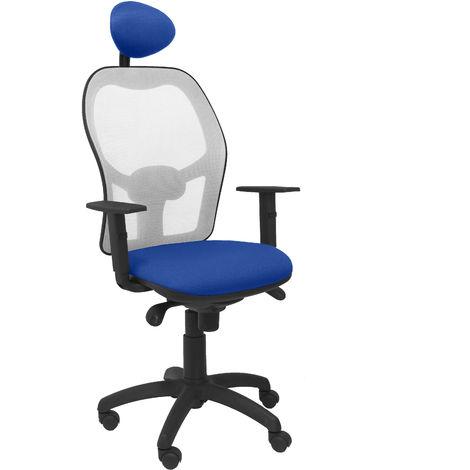 Silla Jorquera malla gris asiento bali azul con cabecero fijo