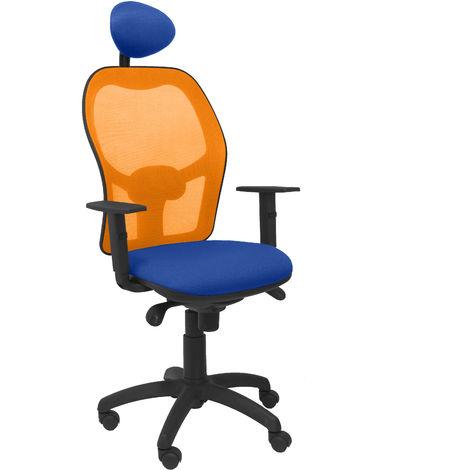 Silla Jorquera malla naranja asiento bali azul con cabecero fijo